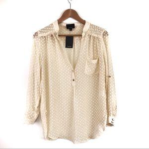 Lumiere | Sheer Dot V-Neck Roll Sleeve Popover S